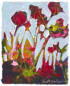 Red Flower Garden Original Painting
