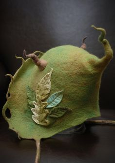 Felt goblin hood in green made to order by lalabugdesigns on Etsy
