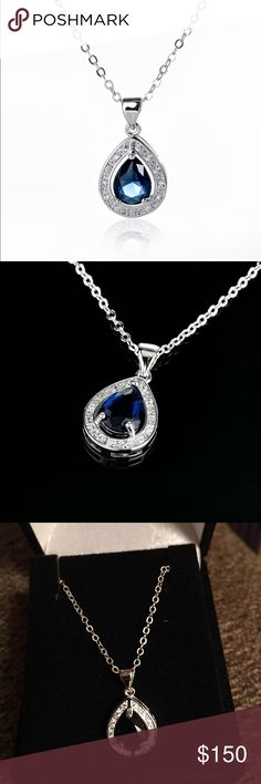 "SAPPHIRE AND DIAMOND TEAR DROP STUNNING NEW GENUINE SAPPHIRE AND DIAMOND TEARDROP PENDANT 18K WGP OVER BRASS MEASURES APPROX 1/2"" AND CHAIN!! CHAIN IS ADJUSTABLE 18-22"" includes velvet gift box Jewelry Necklaces"
