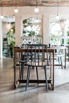 Lights, wood, white brick. #diningroom