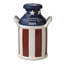 Pfaltzgraff® Stars and Stripes Sealed Milk Can Kitchen Canister Sets, Tea Canisters, Antique Milk Can, Painted Milk Cans, Old Milk Cans, New Crafts, Holiday Crafts, Holiday Ideas, Swedish Weaving