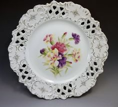 Antique Reticulated Cabinet Plate Hand Painted Pink Purple Carnations Porcelain  #Victorian