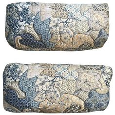 1970s Vintage Asian Quilted Lumbar Pillows - Pair ($205) ❤ liked on Polyvore featuring home, home decor, throw pillows, pillows, quilted throw pillows, lumbar throw pillow and set of 2 throw pillows