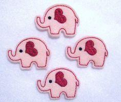 Valentine Elephant - Embroidered Felt Appliques - Set of 4.