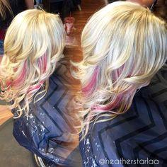 All over ash blonde with pastel pink peekaboos. Pink hair. Blonde hair.