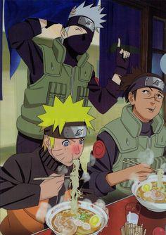 Ramen is life! Iruka, Kakashi and Naruto Naruto Uzumaki, Kakashi Hatake, Anime Naruto, Fan Art Naruto, Naruto Team 7, Naruto Cute, Boruto, Naruto And Sasuke, Manga Anime