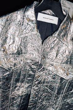 ⚪️ Marques Almeida F/W 2015 backstage; metallic, jacket, texture