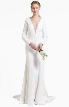 Jenny Yoo JENNY BY Blythe Plunging Crepe Gown
