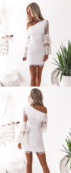 8f847bca46 Sheath One-Shoulder Long Sleeves Short White Lace Homecoming Cocktail Dress  with Ruffles