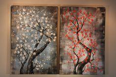 "Free Arrangement: 24"" x 36"" / 60x90cm x 2 panels - Original Canvas Wall Art under $300 from Studio Mojo Artwork Canada"