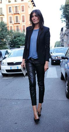 Leather pants, black blazer + tee