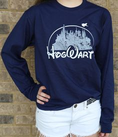 Harry Potter Clothing Hogwarts Castle Navy Blue Long Sleeve Shirt Unisex Adults on Etsy, $25.00