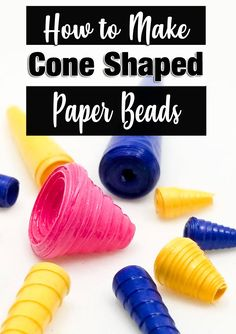 Cone shaped paper beads are one of the funnest shapes to make! You can use them in all kinds of crafts and jewelry. Here's the secret to making the perfect cone every time! Paper Beads Tutorial, Paper Beads Template, Make Paper Beads, Paper Bead Jewelry, How To Make Paper, How To Make Beads, Bead Making Tutorials, Beading Tutorials, Making Ideas