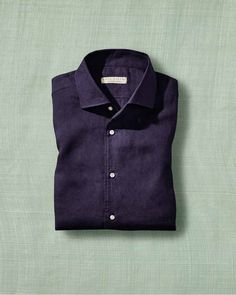 Mother Of Pearl Buttons, Mother Pearl, Portofino Shirt, Midnight Blue, Chambray, Perfect Fit, Polo, Shirt Dress, Pure Products