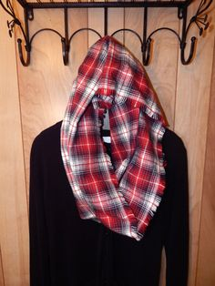 $22.50 Red Black and White Tartan Plaid Fringe Cowl Snood Hood Scarf Thick Brushed Cotton Flannel by TheLittleRedPanda