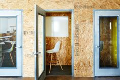 Brad Sherman of B.Sherman Studio chipboard design for the Mobile Commons office in Brooklyn, James Ransom photo | Remodelista
