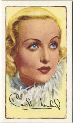 Carole Lombard 1935 Gallaher Signed Portraits of Famous Stars Tobacco Card illustrating Part 1 of Carole Lombard biography through 1931