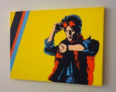 LOVE! ~ This is my pop art inspired twist on the famous Marty McFly pose from Back to the Future.    This was completely hand-painted. I do not use stencils.