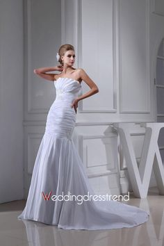 Strapless Ruched Mermaid/Trumpet Chapel Train Wedding Dress with Appliques and Sequins http://www.weddingdresstrend.com/en/strapless-ruched-mermaid-trumpet-chapel-train-wedding-dress-with-appliques-and-sequins.html #Wedding #dress