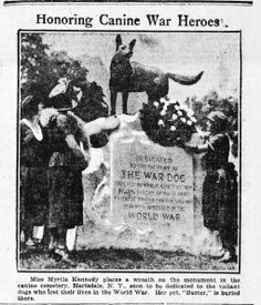 Newspaper clipping of the War Dog Memorial at Hartsdale Pet Cemetery appearing in The Ogden-Standard Examiner [Utah] 16 June 1922