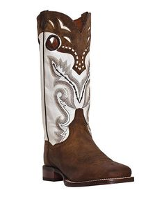 Brown And White Cowgirl Boots - Boot Hto