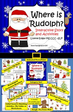 Christmas Speech Therapy: Huge pack of activities & an Interactive Storybook, Phonological Awareness, Prepositions, Matching, Verbs & more. Perfect for Christmas fun in literacy centers, speech therapy or small group instruction. IMPROVE THESE SKILLS: • Story telling/retelling • Phonological Awareness • Regular Plurals • Answering Where? * Prepositions • Categories • Concepts: same/different, match • Associations 14 activities, PowerPoint story & over 58 printable pages!