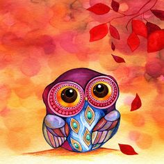 This is my phone case picture! I LOVE it :) Owl's First Fall Leaf - Annya Kai