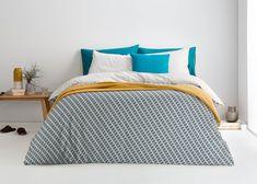 Prism 100% Cotton Printed Bedset, Ocean Teal/ Grey