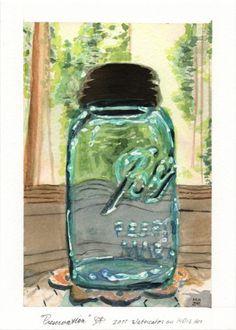 Preservation glass ball mason jar original watercolor painting trees