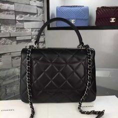 5c81bd427068f1 Chanel Small Trendy CC Flap Bag Black Lambskin Aged RHW A92236