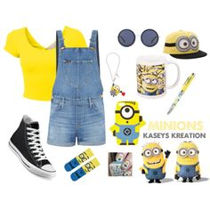 Minions by kaseydumas on Polyvore featuring polyvore, fashion, style, Lee, ASOS, Converse, Tatty Devine and The Row