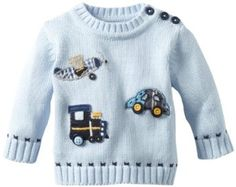 Kitestrings Baby-boys Newborn Planes Trains and Automobiles Sweater, Light Blue, 6-9 Months KITESTRINGS. $24.14