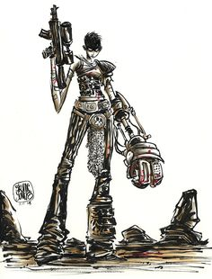 Mad Max: Fury Road - Furiosa by Skottie Young Skottie Young, Imperator Furiosa, Mad Max Fury Road, Young Art, Anatomy Poses, Pop Culture Art, Female Character Design, Character Art, Cartoon Sketches