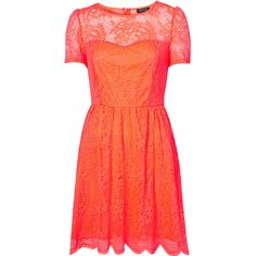 Neon Lace Flippy Dress ($13) ❤ liked on Polyvore featuring dresses, vestidos, topshop, demi lovato, lace dress, sweetheart dress, red lace dress, red sweetheart neckline dress and neon dress