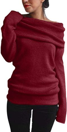 69682424e684 ZANZEA Damen Sexy Langarm Off Shoulder Cardigan Asymmetrisch Pullover  Strick Langshirt Bluse Top (EU 36