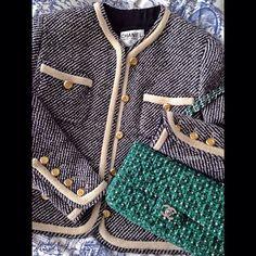 Vintage Chanel jacket + green tweed flap