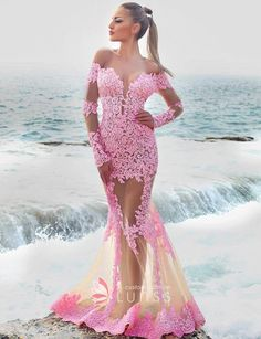 4dae99efd65b5 Romantic Pink Lace with Sheer Tulle Long Sleeve Trumpet Beach Engagement  Dress