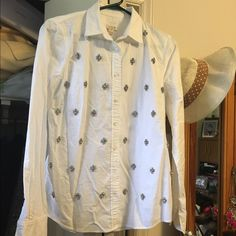 J. Crew beaded button down. Very cute and glams up any outfit! Only worn once. J. Crew Tops Button Down Shirts