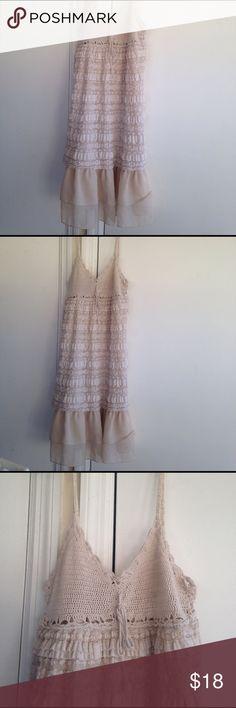 Babydoll dress Crochet top piece, small ruffles, chiffon lower piece. Stretchy material flowy. a'reve Dresses Midi
