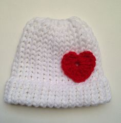 Valentine Heart Knit Baby Hat by ThatsSewAudrey on Etsy