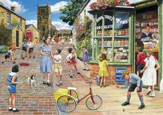 Gibsons Jigsaw Puzzles: Hopscotch Hill Jigsaw Puzzle by Trevor Mitchell at the Jigsaw Puzzle Shop Puzzle Shop, Puzzle Art, Norman Rockwell, Artist Canvas, Canvas Art, 2000 Piece Puzzle, Cartoon Art Styles, Retro, Retro Vintage