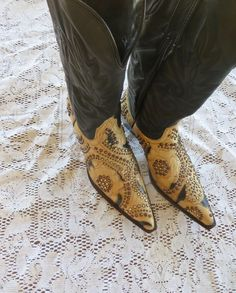 KIPPYS KIPPY'S BOOTS Brown Beige Crystal's Leather Designer JEANS Dance  7 ½ M #Kippys #CowboyWesternFashion #SpecialOccasion