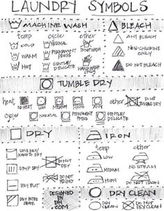 Laundry symbols, just in case. Diy Cleaning Products, Cleaning Hacks, Dry Cleaning, Cleaning Closet, Cleaning Recipes, Cleaning Solutions, Spring Cleaning, Cooking Recipes, Trick 17