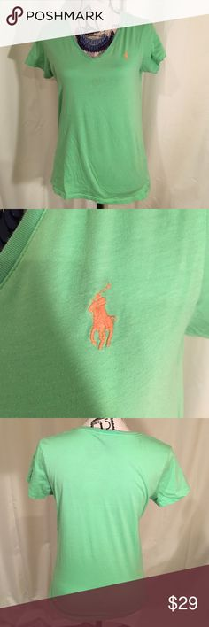 SALE Ralph Lauren Green Sport Polo It is a size large and has been worn a couple times. Has an orange logo on a lime green shirt. Ralph Lauren Tops Tees - Short Sleeve