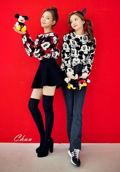 Mouse Patterned Sweater // Pull off a youthful look this winter season and wear this mouse patterned sweater. The iconic pattern only makes it all the more fun to wear casually with jeans or a skirt. #womenfashion #kpop #koreans #style