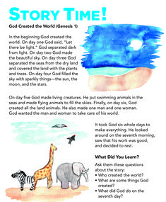 Easy Kids Bible Story for Children's church lessons, Children's Ministry and Sunday school lessons. Creation toddler activities, crafts and printables. Toddler Bible Lessons, Bible Activities For Kids, Preschool Bible Lessons, Bible Stories For Kids, Bible For Kids, Toddler Activities, Baby Bible, Youth Lessons, Toddler Sunday School