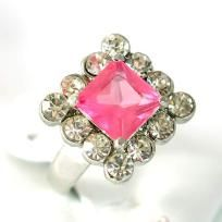 PRETTY Pink Diamante Zircon/CZ Ring SZ 6.5.  Free Shipping.
