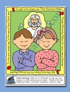 PRAYER: Primary Nursery Lesson 3, I Can Pray to Heavenly Father, Sunday Savers book or CD-ROM, gospelgrabbag.com, Primary Lesson Helps, Beho...