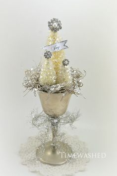 Tiny Christmas Tree - Bottle Brush in Silver : Christmas Decorations at TimeWashed
