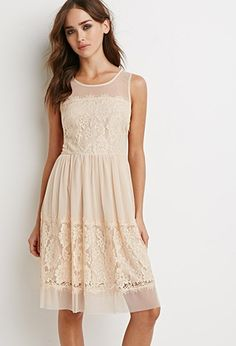 Floral Lace Mesh Dress   Forever 21 - 2002246554